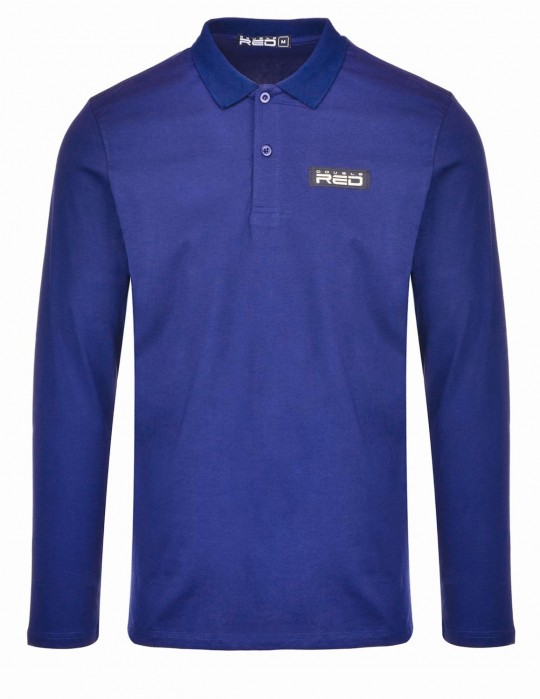 Red Polo King Sleeve Blue
