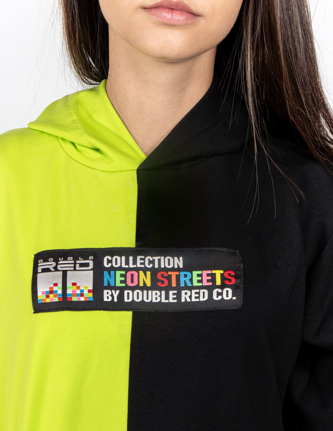 Hoodie DOUBLE FACE NEON Streets Collection Green/Black