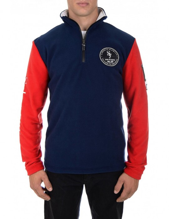 SEAMAN RED/BLUE 100% FINE FLEECE CLOSURE SWEATSHIRT