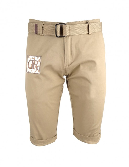 Limited DR M Beige Patch Bermuda Shorts