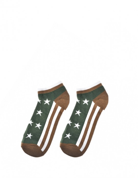 Men's FUN Low Cut Socks Stars Brown