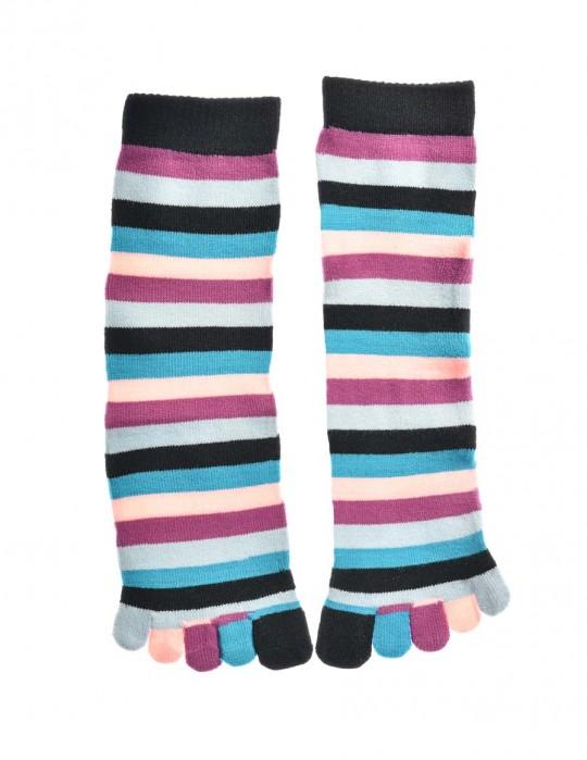 DOUBLE FUN Toe Socks Purple Blue Rainbow
